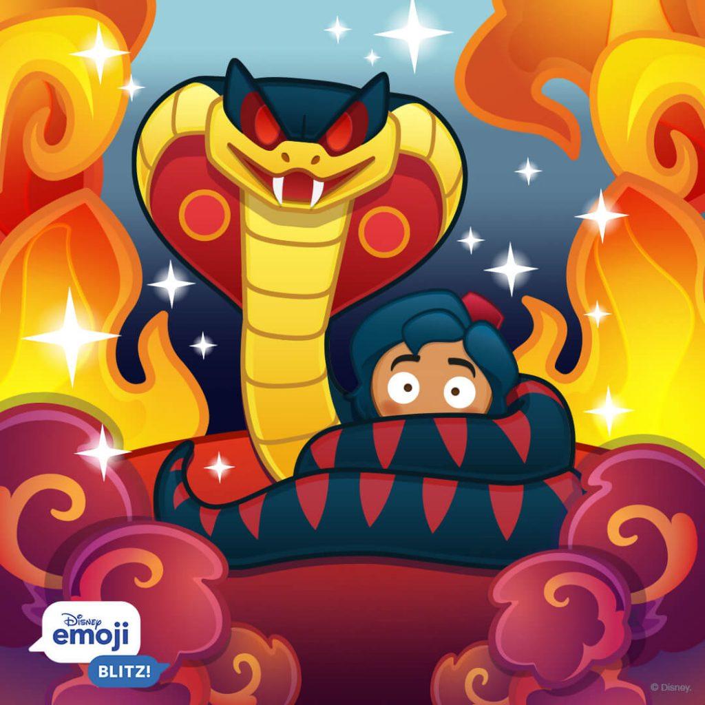 Snake Jafar and Aladdin Emojis, Disney Emoji Blitz
