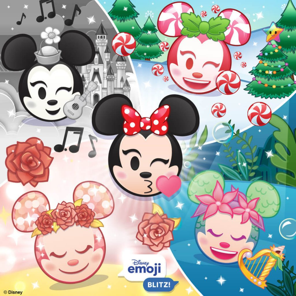 Retro Minnie, Peppermint Minnie, Rose Gold Minnie, Mermaid Minnie, and Minnie Mouse Emojis